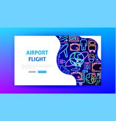 airport flight neon landing page vector image