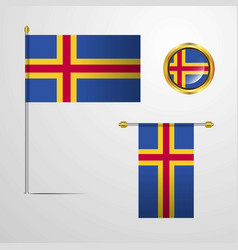 Aland waving flag design with badge vector