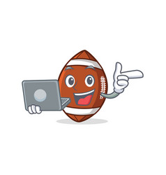 American football character cartoon with laptop vector