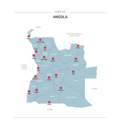 angola map with red pin vector image