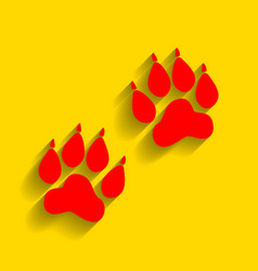 animal tracks sign red icon with soft vector image