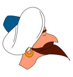 arab white hat on white background vector image