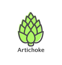 Artichoke thin line icon isolated vegetables vector