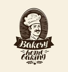 bakery bakehouse logo or label home baking vector image
