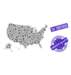 best service collage of map of usa territories and vector image