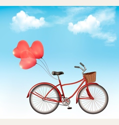 Bicycle with red heart shaped balloons in front of vector image