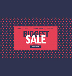 biggest sale voucher design with red dots vector image
