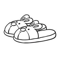 Black and white bunny slippers vector