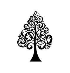 Black tree silhouette vector