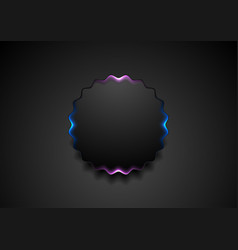 black wavy circle badge with glowing light vector image