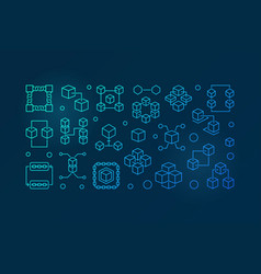 block chain colored outline horizontal vector image