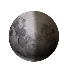 bright realistic moon with half shadow on white vector image