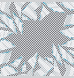 broken glass window on transparent background vector image
