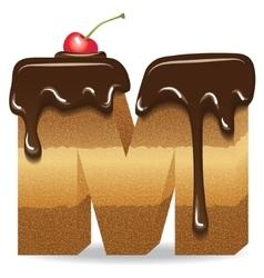 Cake letter M- birthday font vector