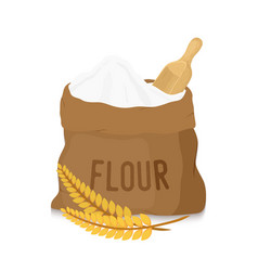 canvas bag with white flour scoop ears vector image