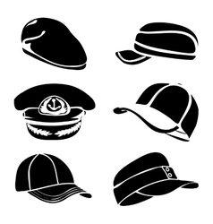 cap set isolated on white black art vector image