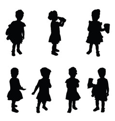 Child silhouette cute set in black vector
