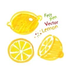 Childlike drawing lemon vector