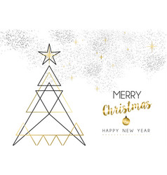 christmas and new year abstract gold line tree vector image