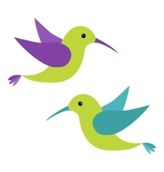 Colibri flying bird icon set Cute cartoon vector