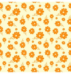 Colorful flowers seamless background orange vector