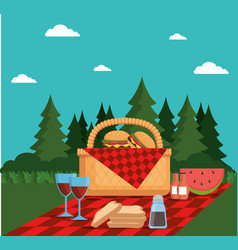 Colorful picnic party poster vector