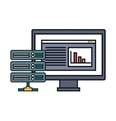 Computer data center server isolated vector