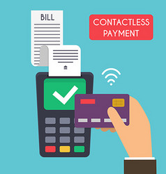 Contactless payment Male hand holding credit card vector
