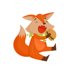 cute cartoon fox character eating burger funny vector image