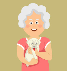 cute elderly senior woman holding labrador puppy vector image
