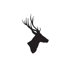 deer head silhouette wild animal reindeer profile vector image
