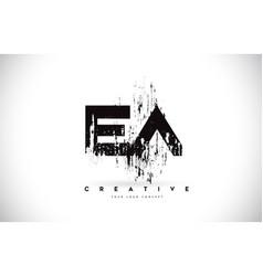 Ea e a grunge brush letter logo design in black vector