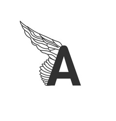 elegant dynamic letter a with wing linear design vector image