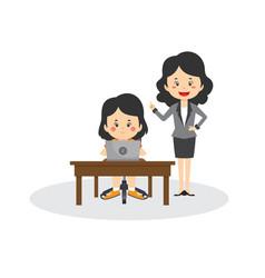 female teacher tutoring student using laptop vector image