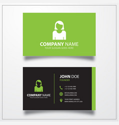 Female user avatar icon business card template vector