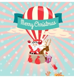 Festive Merry Christmas greeting card with Santa vector image