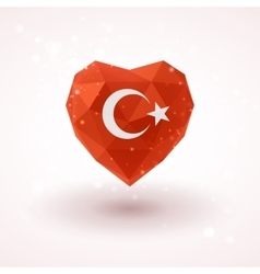 Flag of Turkey in shape diamond glass heart vector image