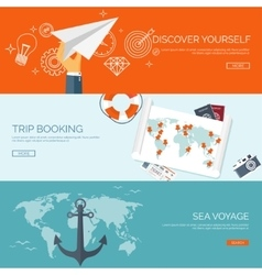Flat travel background Summer holidays vacation vector image