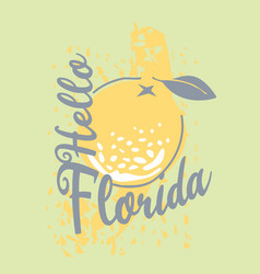 florida t-shirt design with orange vector image