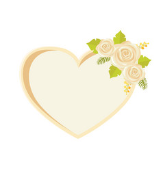 Frame with rose flowers heart shape border vector