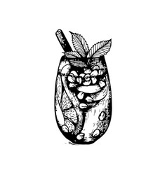 Freehand sketch style drawing of pomegranate vector