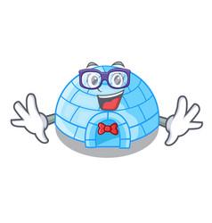 Geek cartoon dome igloo ice house snow vector
