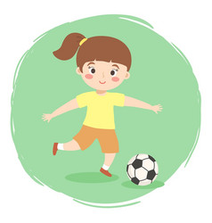girl playing football soccer cartoon vector image