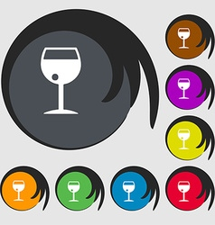 Glass of wine icon sign Symbol on eight colored vector