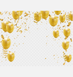Gold balloons and confetti party background vector