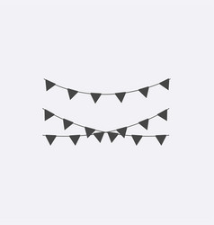 gray celebrate icon modern party flags flat picto vector image