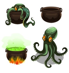 Green octopus and cauldron with magic potion vector