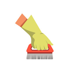 Hand holding cleaning brush broom flat vector