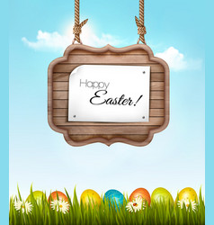 happy easter background with colorful eggs vector image