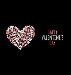 happy valentine day with set kitchen vector image